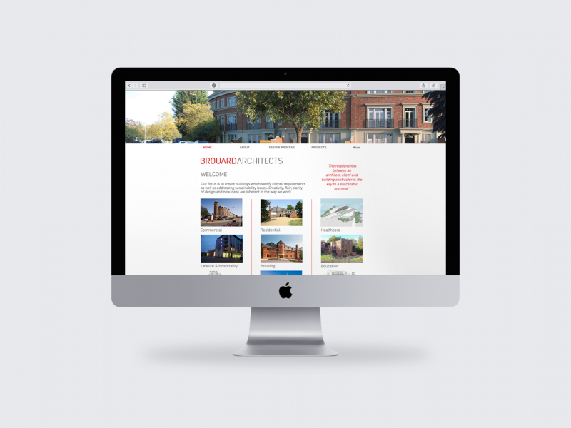 Brouard Architects, Website Desktop Mockup