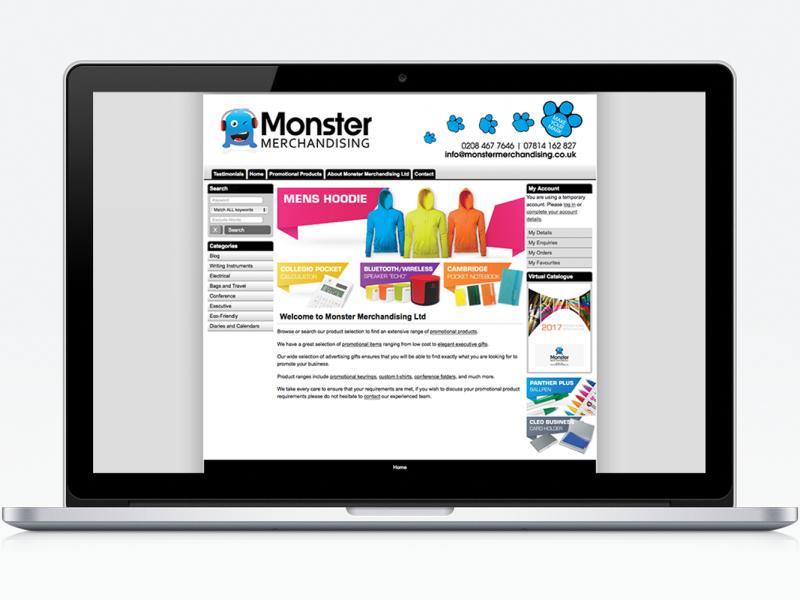 Monster Merchandising, Website Mockup