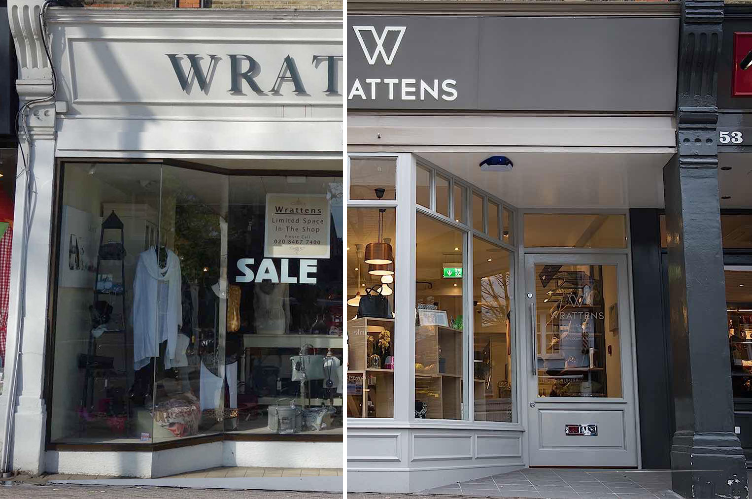 Wrattens Brand and Interior Before and After by Nugget Design